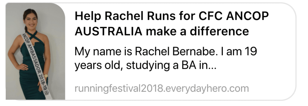 Rachel Runs for ANCOP